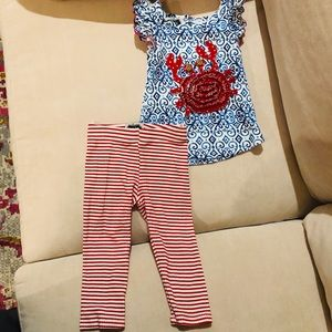 Mudpie two piece crab outfit